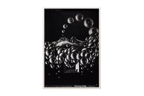 "Original vintage Polish film poster - ""Jesienny Urlop"" by Lech Majewski (1981)"
