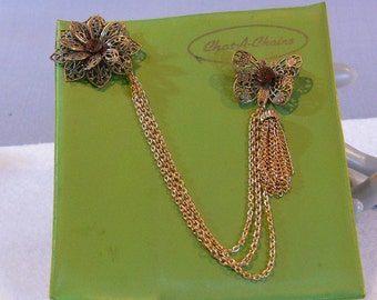 SALE - Vintage Brooches - Rare - Chat-A-Chains - Topaz - FS-270