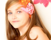 Pink and Tangerine Satin Rolled Flower  Headband -Baby headband- Newborn headband-  Toddler headband- Weddings-Special Ocasions