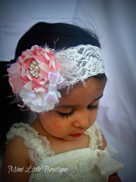 Light pink  Flower  Headband-Baby headband- Newborn headband-  Toddler headband- Weddings-Special Occasions