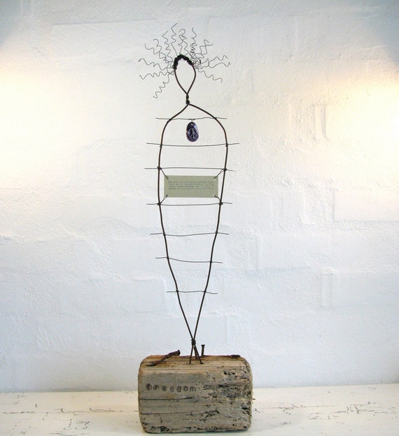 Sculpture made of Driftwood and Rustic Wire - Peace Art - Freedom Art - Mixed Media Wire and Wood Sculpture