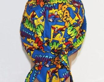 Doo Rag with pocket - Superman fabric skully