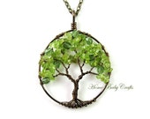 Peridot Olive Tree, Wire Tree of Life in Antique Brass, Gemstone, Green Glass, Wisdom, Peace, Earth