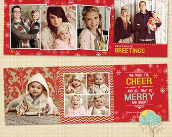 5x5 Trifold Holiday Card Template - HC129