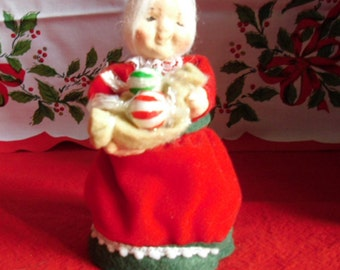 Vintage Christmas Ornament - Paper Mache, Mrs. Santa, Made in Taiwan