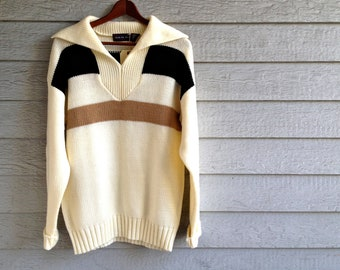 vintage 1970s sweater in cream with tan & black stripes. retro clothing.