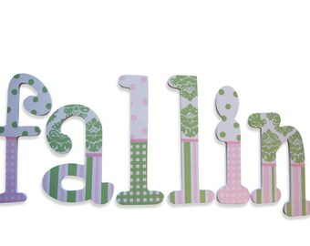 Polka Dot Letters Painted Letters Name Letters Wall Letters Damask Letters Wooden Wall Letters Nursery Name Letters Decorative Wall Letters
