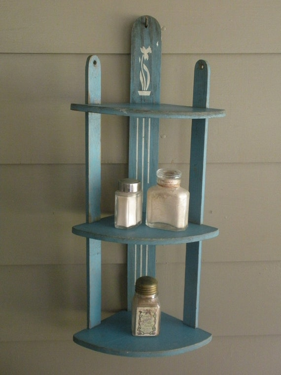 Vintage Daffodil Wooden 3 Tier Shelf in Chippy Blue Paint