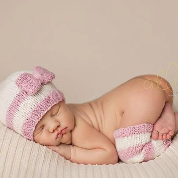 RESERVED LISTING for Brittney Allen -Knit Baby Hat -stripes and bow, leg warmers