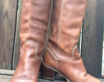 Zodiac Leather Boots 1960s 1970s Caramel Brown Knee High Campus Hippie Size 6M