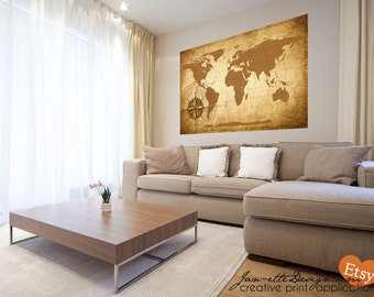 Living Room Wall Decor,Large World Map Wall Decal