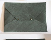 Document / Letter - Oversized Leather Envelope Clutch - Pine Green Suede