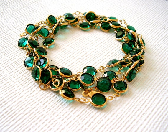 Vintage Swarovski Emerald Green Bezel Set Necklace