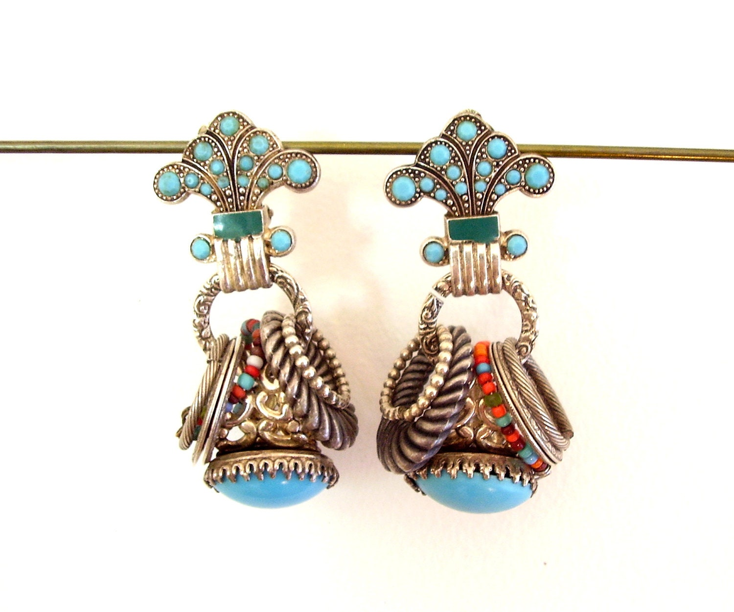 80's Fashion Turquoise Chandelier Earrings