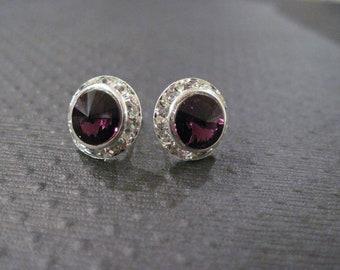 Amethyst Swarovski Crystal Stud Earrings/Bridesmaid Earrings/Halo Earrings/Swarovski Crystal Earrings/Swarovski Studs/Purple Crystal Studs