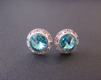 Turquoise Swarovski Studs/Light Turquoise Halo Earrings/Bridesmaid Earrings/Bridesmaid Jewelry/ Wedding Jewelry/Turquoise Crystal Earrings