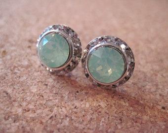 Swarovski Studs/ Chrysolite Opal Swarovski Earrings/ Green Opal Earrings/Bridesmaid Jewelry/ Wedding Jewelry/Swarovski Crystal Earrings