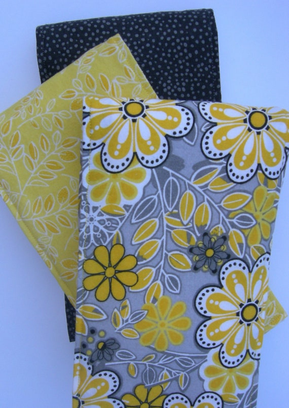 Yellow & Grey Baby Burp Cloths (Set of 3)