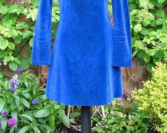 Blue Lagoon-60s Cobalt Blue Velvet Dress with Gold Beaded Embroidery