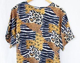 Vintage leopard print blouse animal print top tiger leopard cheetah zebra womens short sleeve shell blouse polyester crepe