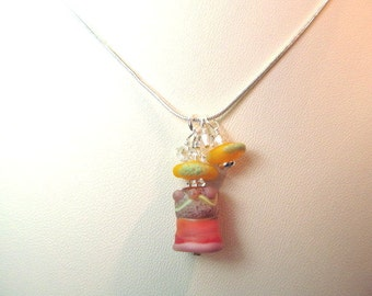 Necklace orange yellow pink red glass lampwork beads by Spanky with crystals