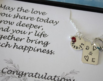 Personalized Bride Gift, Wedding Day Keepsake, Couples Necklace, Sterling Silver Necklace, Congratulation Card