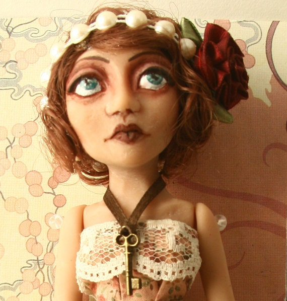 "SALE - Art Doll Flapper - ""Rose"" with Bird Cage and Skeleton Key"