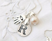 Personalized necklace, stamped initial, silver Hamsa & a pearl on 925 sterling silver chain, monogram Letter, A B C D J L M  R S