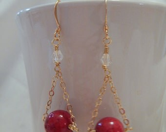 Red Stone Earrings with Gold Chain