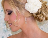 Bridal Hair Flower, 3.5 Wedding Hair Flower, White or Ivory Flower Hair Clip, Style 2027, Made to Order