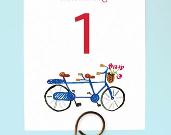 Printable Bike Table Numbers - Bicycle Built for Two - Numbers 1-15 - Bike-themed wedding, Tandem Bike Table Numbers, Bicycle Wedding Decor
