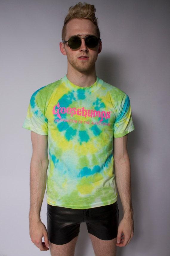 pastel TIE DYE 90s Goosebumps t-shirt neon pink slime SM