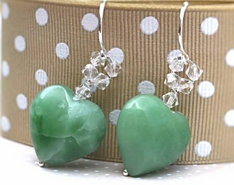 Green Aventurina Heart Earrings, Pure Sterling Silver, Gemstone With CRYSTALLIZED Swarovski Elements, British Jewellery UK Gift
