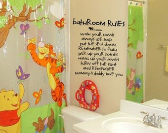 Mommy and Daddly Love you BATHROOM RULES  Kids Bathroom  Vinyl Wall Lettering Decal