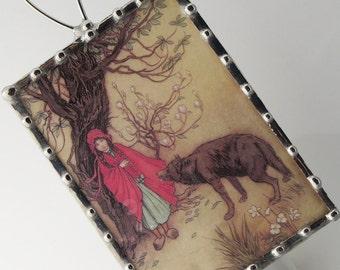 Plug In Night Light Red Riding Hood Image, Kids Night Light, Nightlight with Vintage Storybook Illustration, Nursery Lighting N06