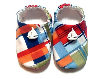 Nautical Sailor Baby Boy Shoes with Sailboats, 0-6 mos. Baby Booties, Baby Gift