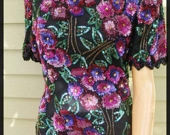 Vintage Laurence Kazar Floral Sequins Top