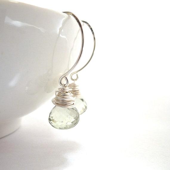 Green Amethyst Drop Earrings Sterling Silver Jewelry Wire Wrapped Briolettes