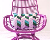Made to Order -  Custom Purple Cane Retro Chair  with Vintage Cushion