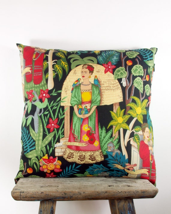 Cushion Cover LARGE Frida Kahlo Bright Colourful Day of the Dead Mexican Throw Pillow 55cm x 55cm or 22' x 22'