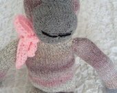 Hand knitted Pink & gray grey Chimp, Chimpanzee, Monkey Toy Soft Doll  - suitable from birth Baby shower gift,Newborn gift, Holiday gift