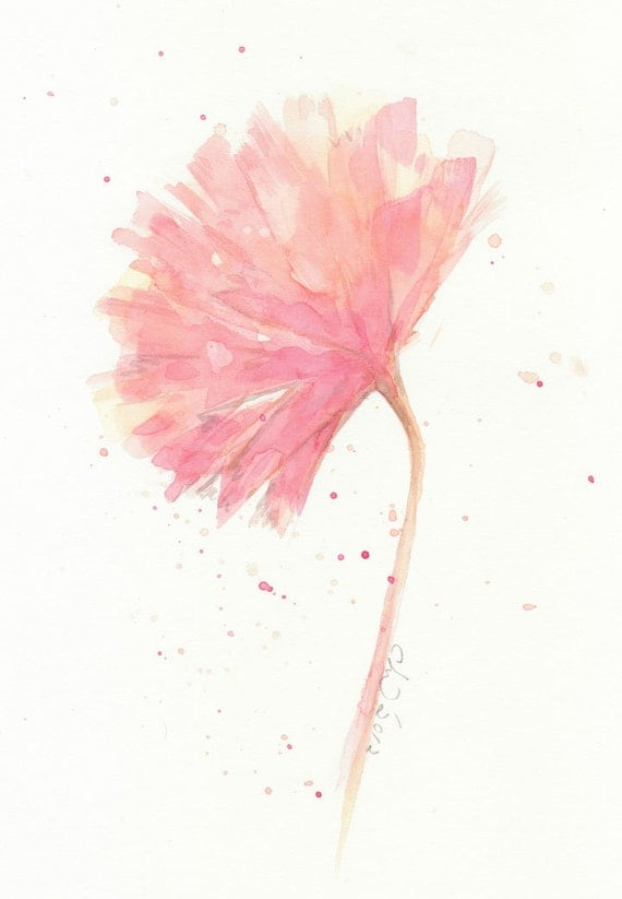 Flower, flower painting, Watercolor Pink Carnation---- original abstract watercolor painting