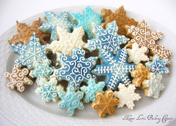 Snowflake Decorated Cookies Christmas Cookies Holiday Winter Decorated Royal Icing Sugar Cookies