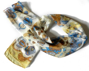 Hand painted silk scarf, pastel beige blue colors. Hand painted  fish and seashells silk scarf .Made to order.