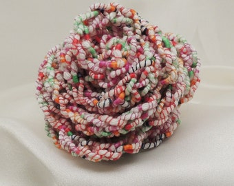 Multicolor Crocheted Rose with Pin Back