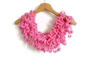 Super Soft Pompom Pink Scarf Handmade