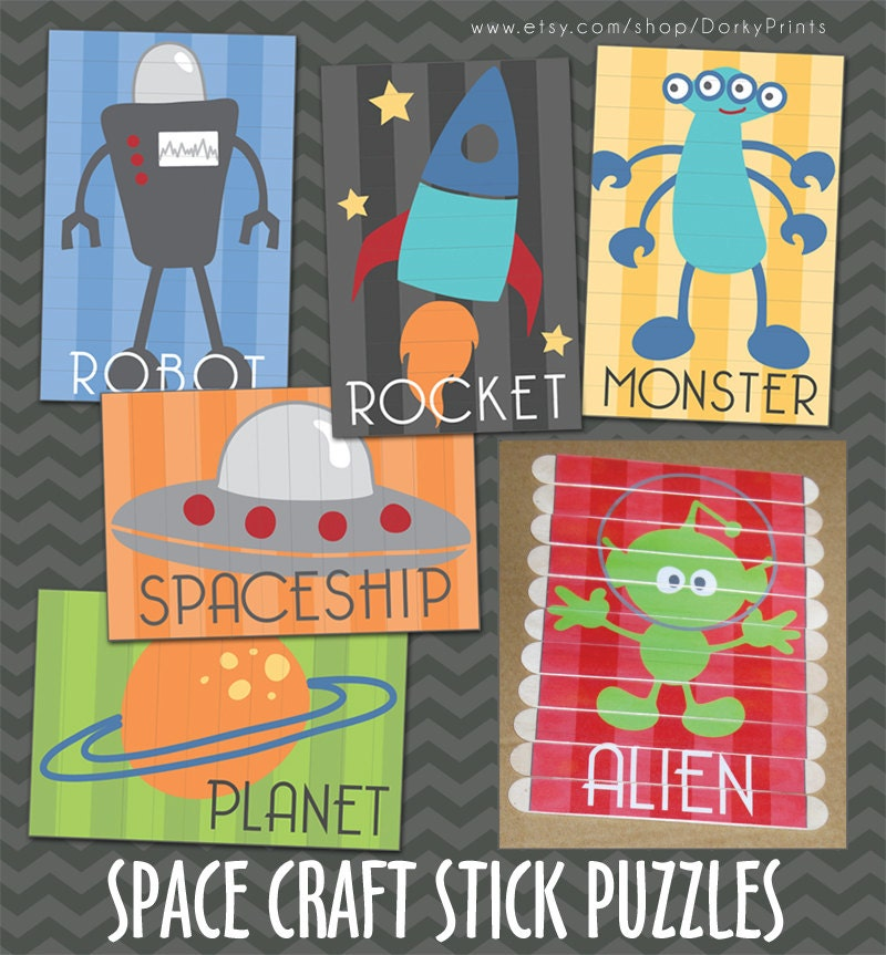 Outer space craft stick puzzles pdf preschool printable for Outer space classroom decor