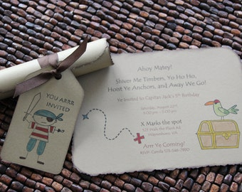 Pirate Birthday Invitation  set of 10 invitations