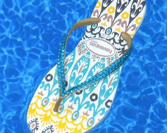Havaianas Collector Slim Flip Flops w/ Swarovski Crystal Rhinestone Bling Jewels Ethnic Boho Australian Womens US 6/7 Sandals Thong Shoes