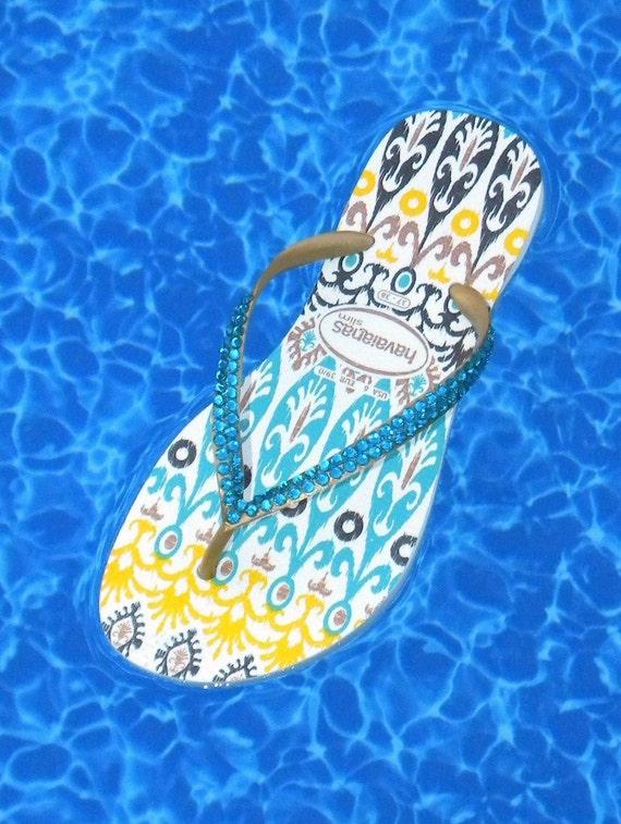 Havaianas Collector Slim Flip Flops w/ Swarovski Crystal Rhinestone Bling Jewels Ethnic Boho Australian Womens US 6/7 Sandals Thong Shoes